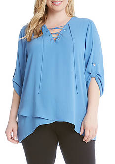 Karen Kane Plus Size Lace Up Roll Tab Top