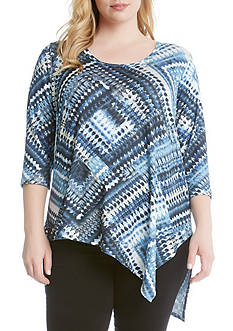 Karen Kane Plus Size Diamond Asymmetrical Hem Tee