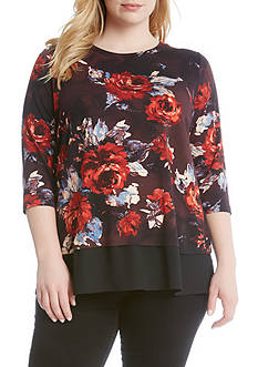 Karen Kane Plus Size Painted Rose Contrast Hem Top
