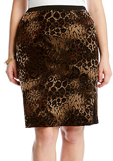Karen Kane Plus Size Gold-Tone Dust Burnout Skirt