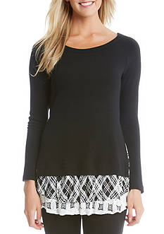 Karen Kane Plaid Print Inset Sweater