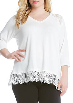 Karen Kane Lace Yoke Inset Sweater
