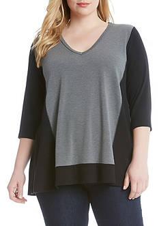 Karen Kane Plus Size Colorblock Sweater Knit Top