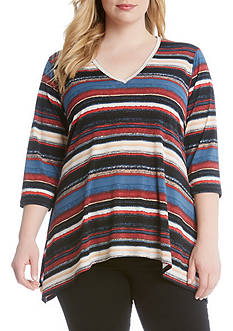 Karen Kane Plus Size Multi Stripe Handkerchief Top