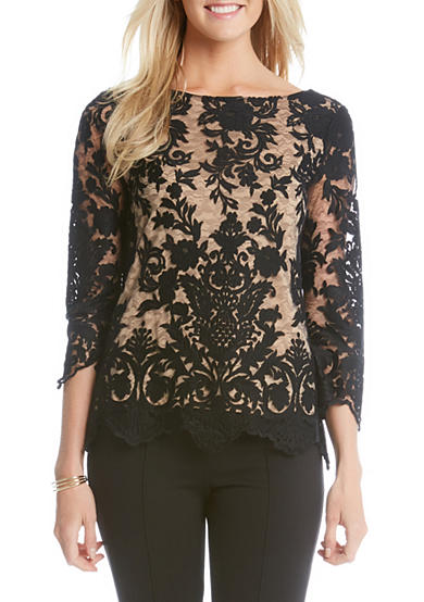 Karen Kane Embroidered Scallop Lace Blouse