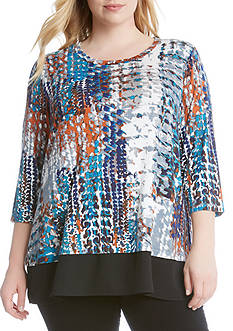 Karen Kane Plus Size Sleeve Sheer Hem Top