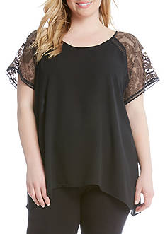 Karen Kane Embroidered Sleeve Lace Top