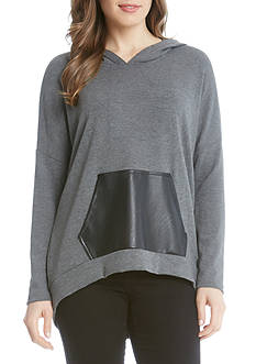Karen Kane Faux Leather Kangaroo Pocket Hoodie