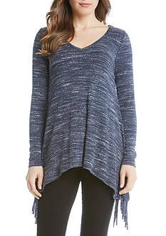 Karen Kane Sweater Knit Fringe Top