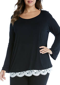 Karen Kane Plus Size Lace Hem Boat Neck Top