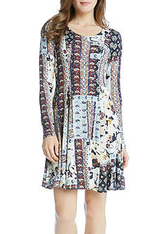 Karen Kane Patchwork Floral Flared Dress