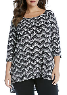 Karen Kane Plus Size High Low Raglan Sleeve Top