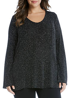 Karen Kane Plus Size Diamond Dust V-Neck Top