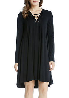Karen Kane Lace-Up Maggie Trapeze Dress