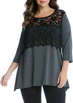 Karen Kane Plus Size Lace Overlay Handkerchief Top