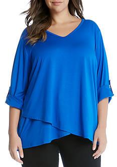 Karen Kane Plus Size Roll Tab Asymmetrical Hem Wrap Top