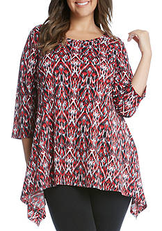Karen Kane Plus Size 3/4 Sleeve Handkerchief Top