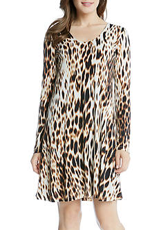 Karen Kane Blurred Cheetah Taylor Dress