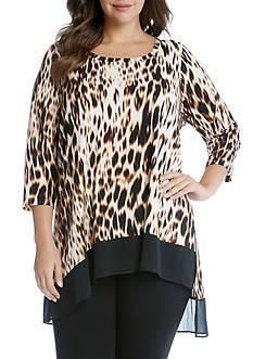 Karen Kane 3/4 Sleeve Contrast Hem Tunic