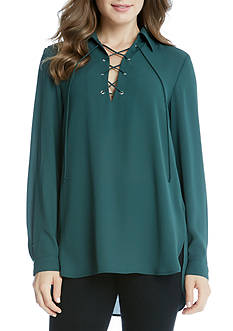 Karen Kane Lace-Up Collar Blouse
