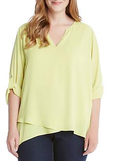 Karen Kane Plus Size Asymmetric Hem Wrap Top