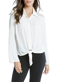 Karen Kane Tie Front Lace Yoke Top