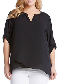 Karen Kane Plus Size Asymmetrical Hem Wrap Top
