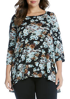 Karen Kane Plus Size Blue Floral Hi-Lo Top