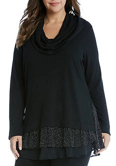 Karen Kane Plus Size Cowl Neck Sparkle Top