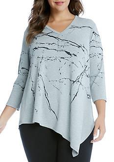 Karen Kane Plus Size Marble Print V-Neck Angle Tee