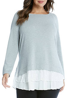 Karen Kane Plus Size Lace Inset Sweater