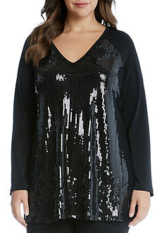 Karen Kane Plus Size V-Neck Sequin Top