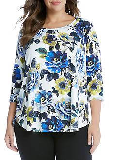 Karen Kane Plus Size Knit Floral Print Pullover Tee