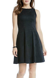 Karen Kane Faux Suede Fit & Flare Dress