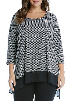 Karen Kane Plus Size Asymmetric Sheer Hem Top