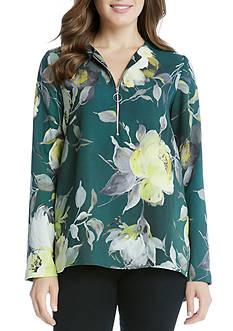 Karen Kane Floral Print Zip Up Top
