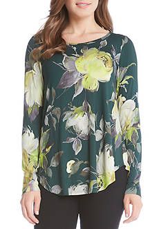 Karen Kane Floral Print Long Sleeve Tee