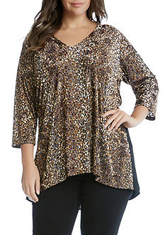 Karen Kane Three-Quarter Sleeve Burnout Combo Top