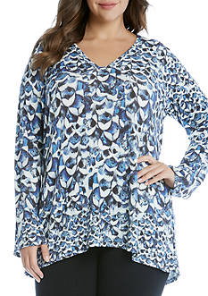 Karen Kane Plus Size Flared Sleeve Hi-Lo Top