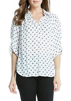 Karen Kane Heart Print Shirt
