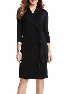 Karen Kane Petite Three Quarter Length Sleeve Wrap Dress