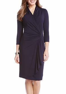Karen Kane Petite Size Cascade Wrap Dress