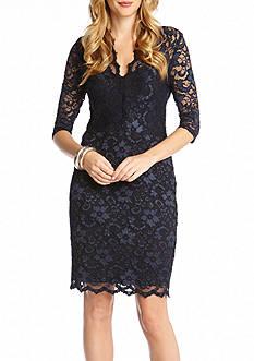 Karen Kane Petite Size Scallop Lace Dress