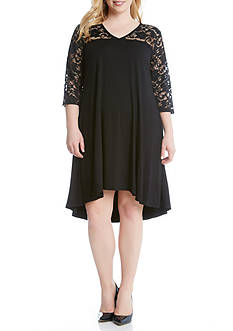Karen Kane Plus Size V-Neck Lace Yoke Swing Dress