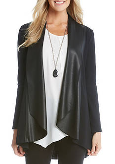 Karen Kane Faux Leather Collar Drape Cardigan