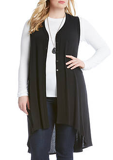 Karen Kane Plus Size Hi-Lo Sleeveless Duster