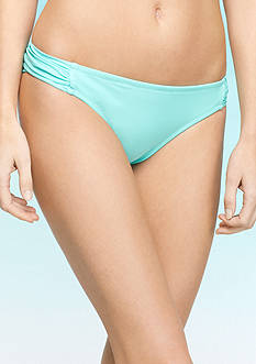 Jessica Simpson Basic Solid Side Shirred Hipster Swim Bottom