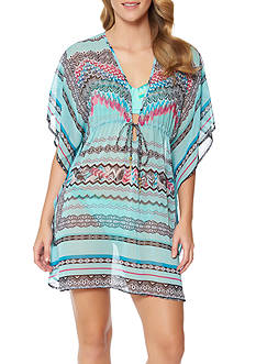 Jessica Simpson Dakota Placement Chiffon Border Swim Cover Up