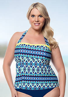 Jessica Simpson Plus Size To Dye For Ruffle Bandeaukini