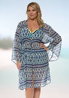 Jessica Simpson Plus Size To Dye For Tie Front Chiffon Kimono